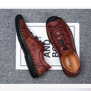 Men Hand Stitching Non Slip Elastic Lace Soft Sole Casual Leather Shoes