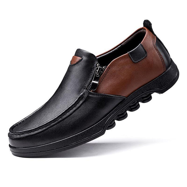 Men's Genuine Leather Non Slip Color Blocking Soft Sole Casual Shoes