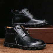 Men Hand Stitching Soft Lace Up Leather Ankle Boots