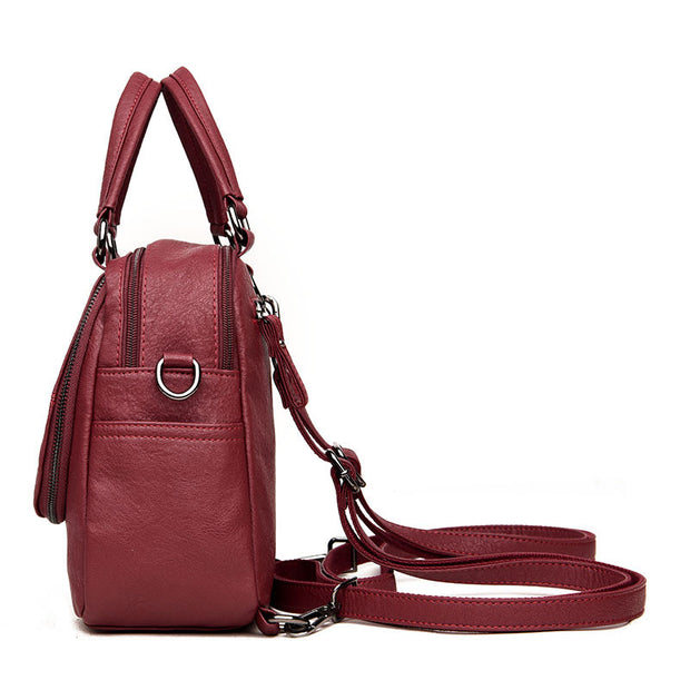 Women's High-end Multifunction Soft PU Leather Handbag Double Layer Large Capacity Backpack