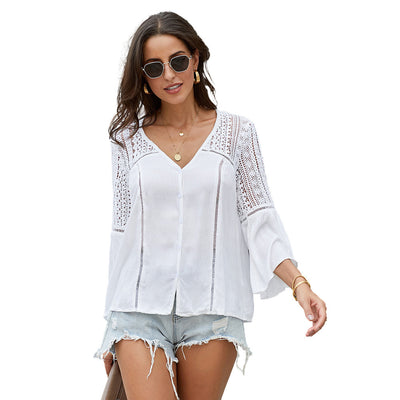 Women's hollow crochet shirt solid color sexy V-neck horn long sleeve loose shirt
