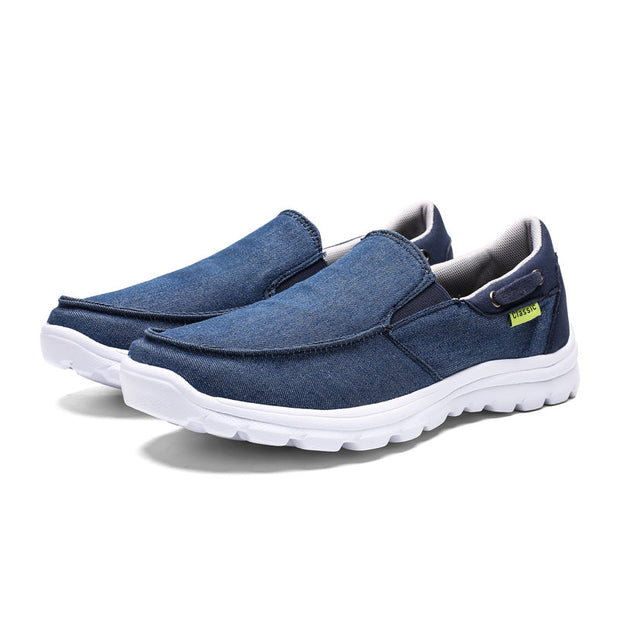 Large Size Men Washed Canvas Comfy Soft Sole Slip On Casual Shoes