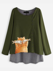 Women's Cartoon Cat Stripe Fake Two Pieces Long Sleeve Blouse
