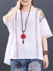 Women's Embroidery Loose Crew Neck Short Sleeve Casual T-Shirt