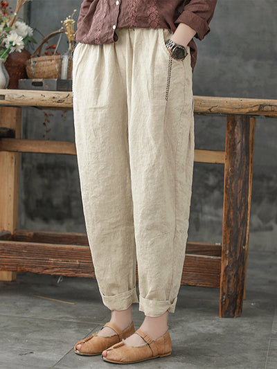 Women's Solid Color Loose Plus Size Harem Pants with Pockets