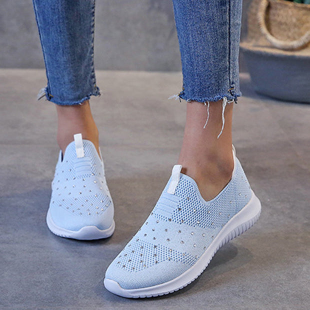Women Large Size Mesh Rhinestone Decoration Breathable Flat Casual Sneakers