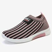 Women Stripe Mesh Knitted Casual Walking Shoes