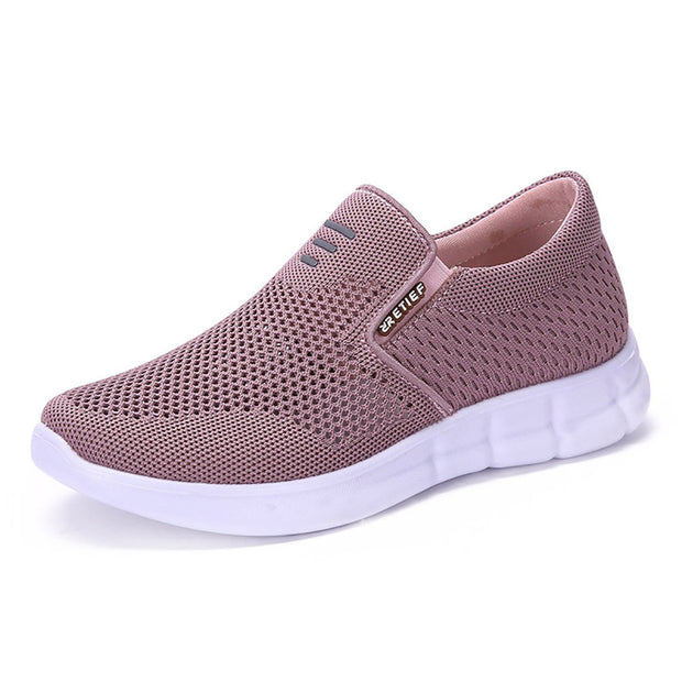 Women Breathable Mesh Slip On Walking Flat Shoes