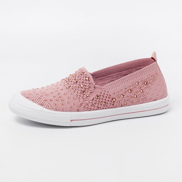 Women Mesh Casual Rhinestone Knitted Comfortanle Flat Shoes