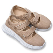 Women Large Size Casual Walking Breathable Mesh Hook Loop Flat Sneakers