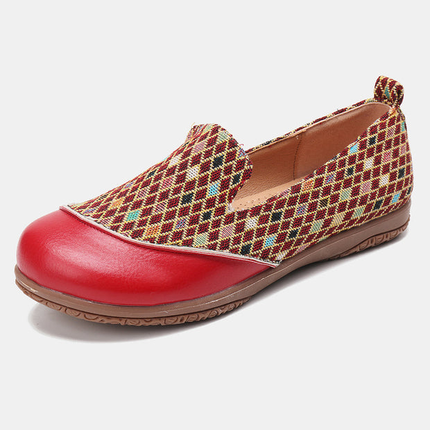 Women's Splicing Pattern Closed Toe Loafers Slip On Casual Flat Shoes