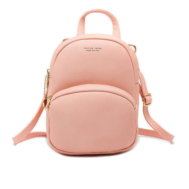 Women's ladies bag solid color ladies small backpack simple fashion ladies backpack