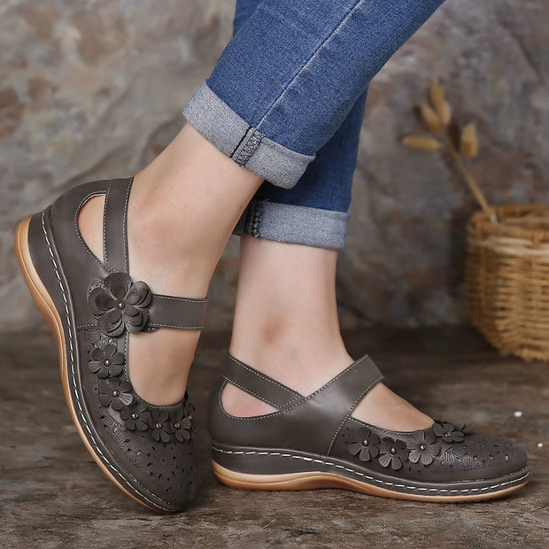 Women Comfy Flowers Hollow Hook Loop Flat Shoes