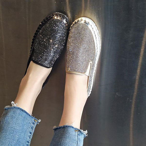 Women's Plus Size Rhinestone Decoration Braethable Wearable Flat Casual Shoes