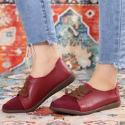 Women's Suede Splicing Leather Soft Sole Slip On Casual Flat Shoes