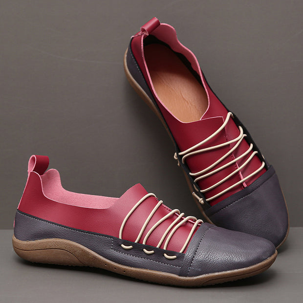 Women's Large Size Soft Slip On Splicing Flat Women's Casual Flat Shoes