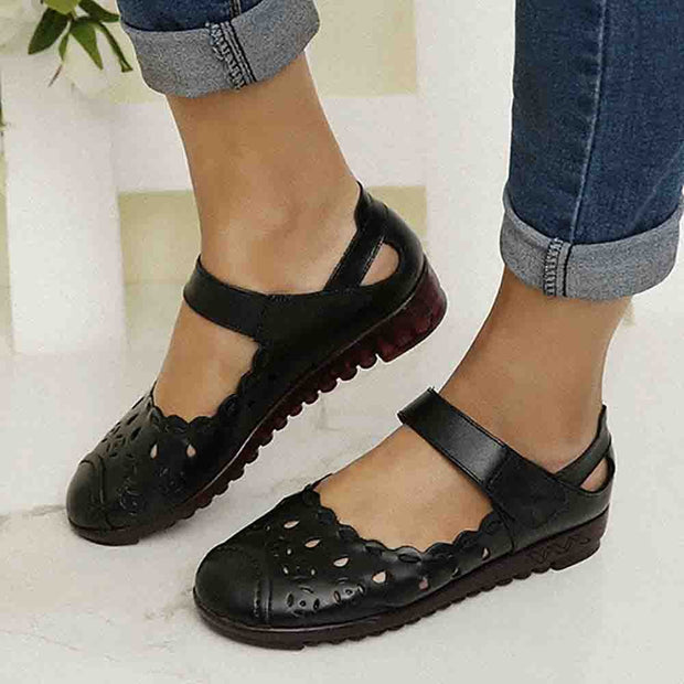 Women Breathable Leather Hollow Hook Loop Flats