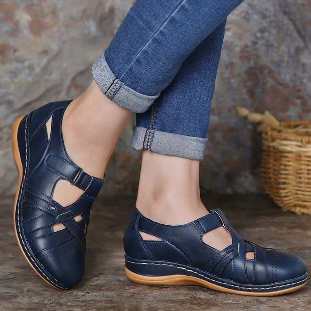 Women's Comfy Soft Stitching Hook Loop Flat Shoes