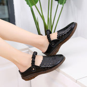 Women's Hollow Out Leather Adjustable Backless Casual Flat Loafers