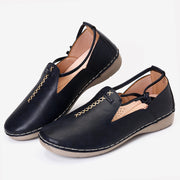 Women's Round Toe Stitching Slip On Slip Resistant Flat Casual Shoes