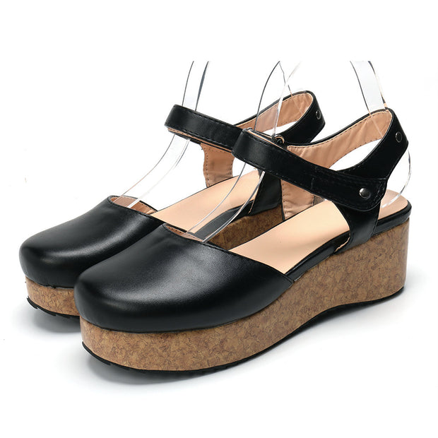 Women Large Size Vintage Closed Toe Hook Loop Platform Sandals