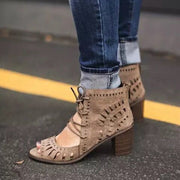 Women Large Size Casual Peep Toe Hollow Lace Up Chunky Heel Sandals
