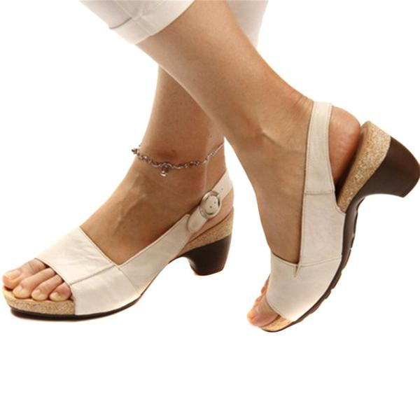 Women Plus Size Causal Peep Toe Buckle Chunky Heel Sandals