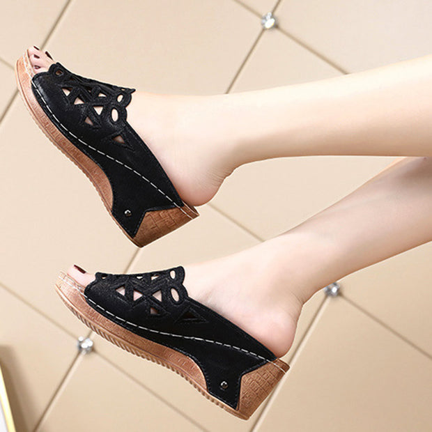 Women Lace Peep Toe Splicing Hollow Out Wedges Casual Sandals