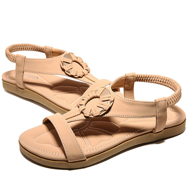 Women Metal Opened Toe Slip On Beach Casual Flat Sandals