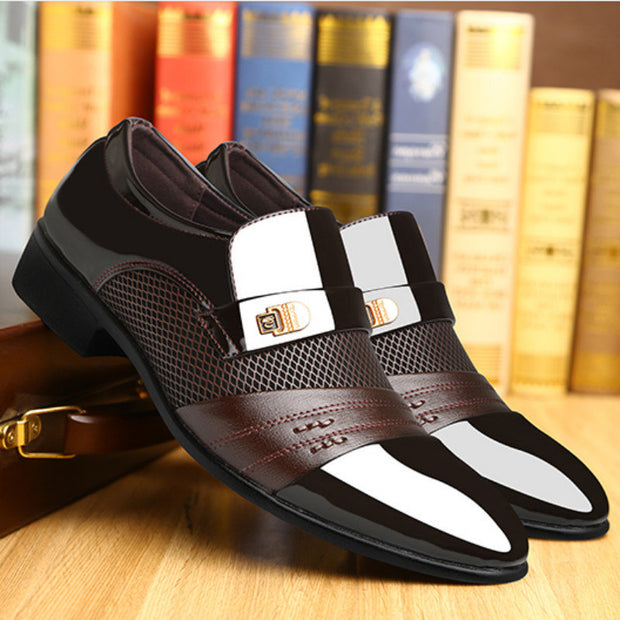 Men Large Size Stylish Splicing Slip On Business Formal Dress Shoes