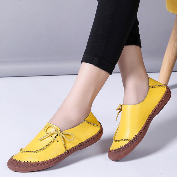 Women Larger Size Cow Split Leather Handmade Stitching Non Slip Casual Loafers