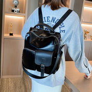 Women Vintage Glossy PU Leather Backpack School Bag