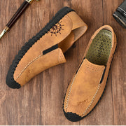 Men's leather shoes beanie leather casual driving shoes