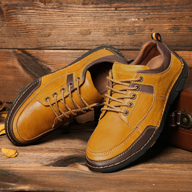 Men's Stitching Leather Splicing Non Slip Soft Casual Shoes