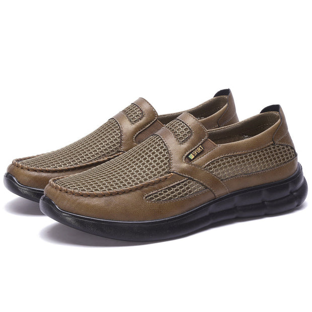 Men's Mesh Fabric Splicing Breathable Slip On Large Size Casual Shoes