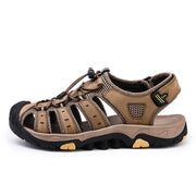Men's Hook Loop Slip Resistant Walking Outdoor Leather Hiking Sandals