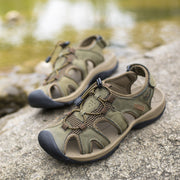 Men's Genuine Leather Hook Loop Outdoor Hiking Waking Water Sandals