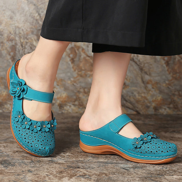 Women's Flower Vintage Closed Toe Adjustable Hook Loop Wedges Sandals