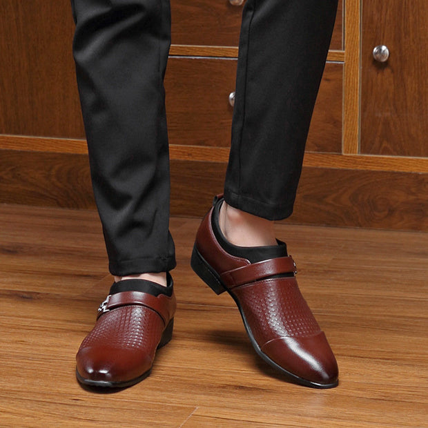 Men's Large Size Men Stylish Cap Toe Slip On Business Formal Dress Shoes