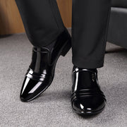 Men Leather Non Slip Slip On Business Causal Formal Dress Shoes