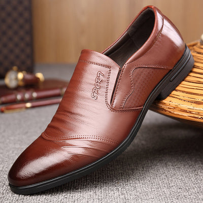 Men Leather Non Slip Slip On Business Casual Formal Dress Shoes