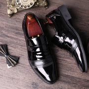 Men Pure Color Splicing Slip On Casual Business Formal Shoes