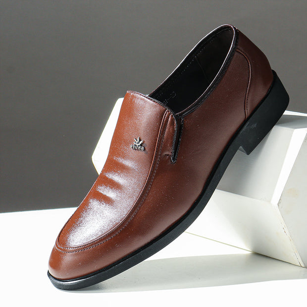 Men Pure Color PU Leather Slip On Business Casual Formal Shoes