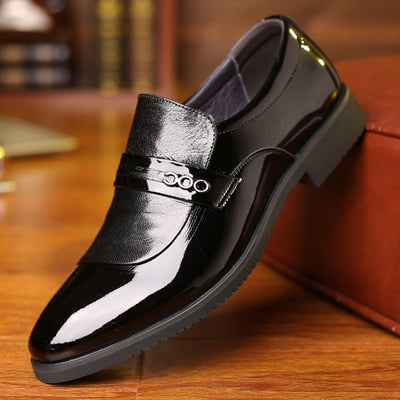Men Leather Splicing Pure Color Business Formal Dress Shoes