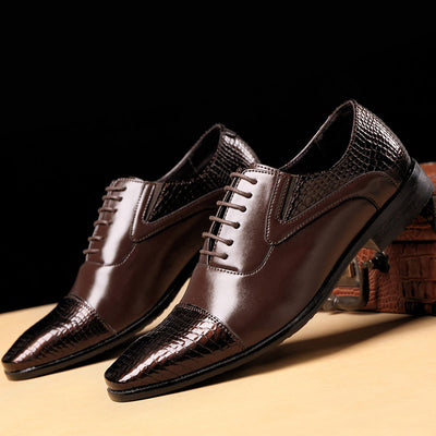 Men PU Leather Cap Toe Non Slip Business Casual Formal Shoes