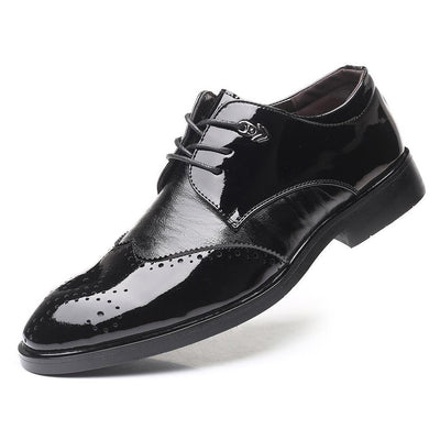 Men Carved Non Slip PU Leather Splicing Casual Formal Shoes
