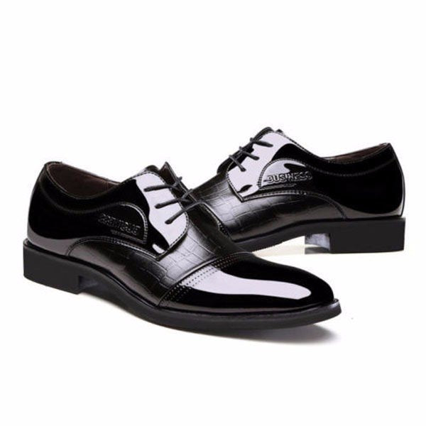 Men Leather Check Plaid Pointed Toe Lace Up Business Formal Shoes