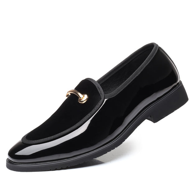 Men Large Size Leather Splicing Slip On Formal Dress Shoes