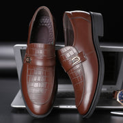 Men Genuine Leather Non Slip Slip On Casual Formal Shoes