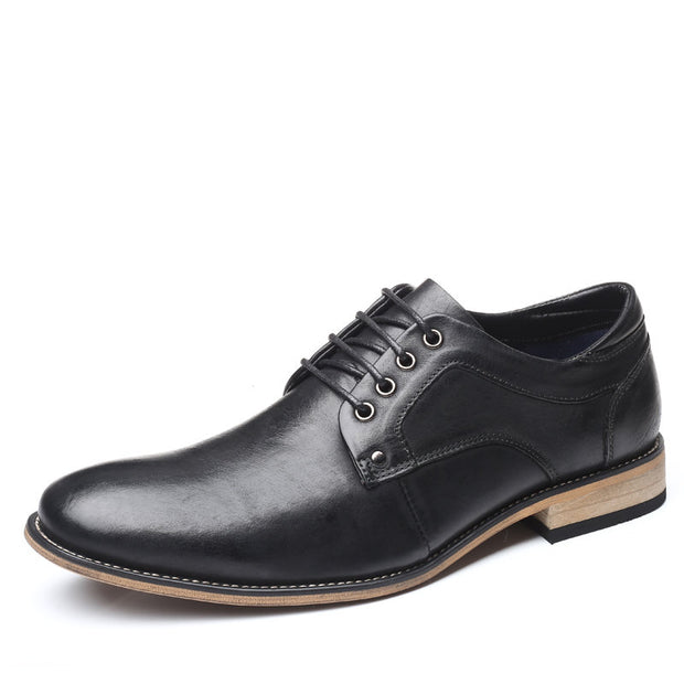 Large Size Men Vintage Genuiner Cow Leather Lace Up Businees Formal Shoes